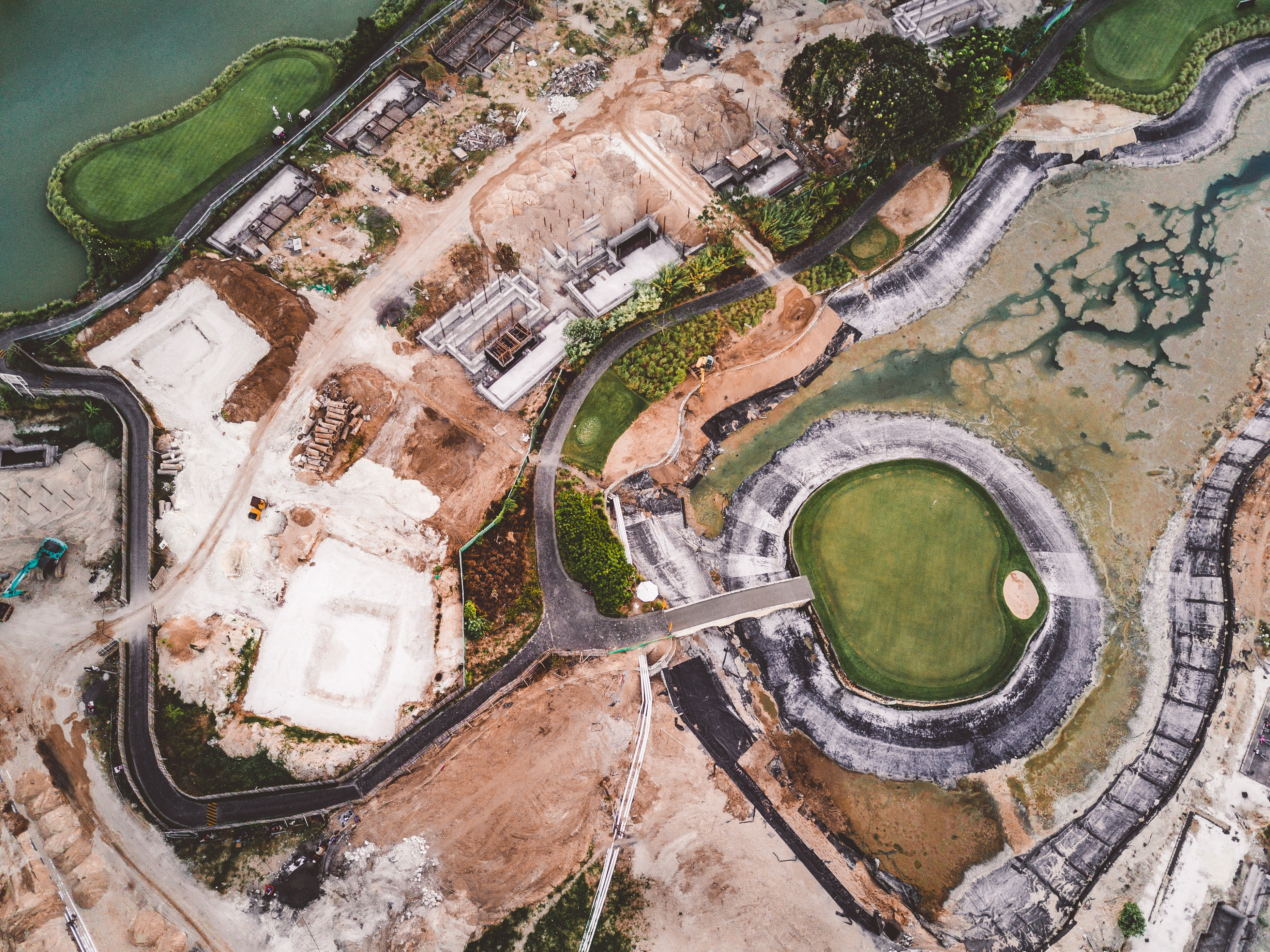 Aerial photography of land and body of water