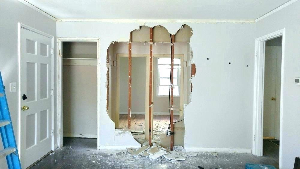 Partly demolished load bearing wall