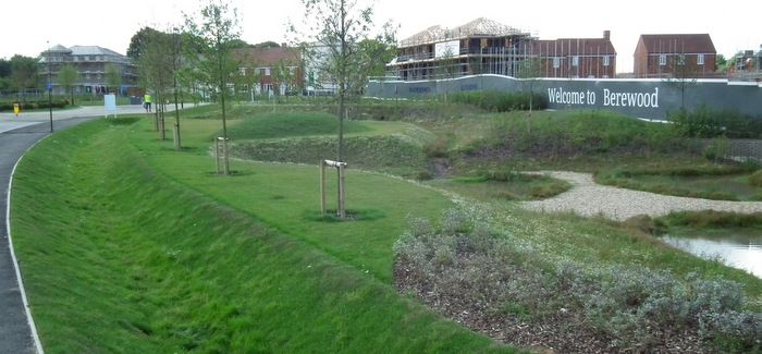 Sustainable drainage system on the outskirts of a new housing development