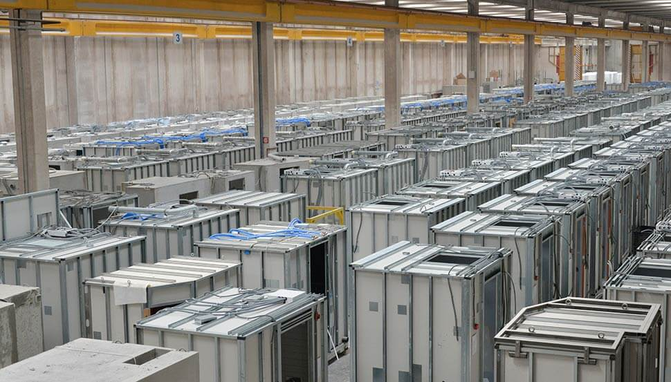 A factory full of preassembled kitchen and bathroom pods